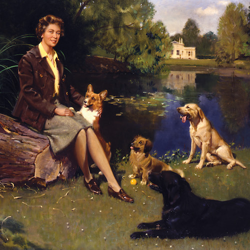 Yappy birthday, Ma'am - Celebrate with a snappy Corgi! 'Her Majesty The Queen at Frogmore with Her Dogs' Signed and dated 1974