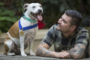 Staffie Diesel wear his medal next to his owner Jordan