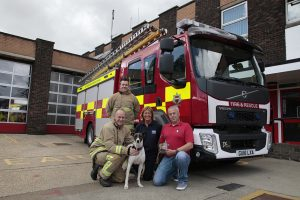 Greyhound and fire crew pose