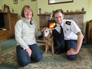 Timmy the dog with new owner Jo and RSPCA Inspector Antony Joynes
