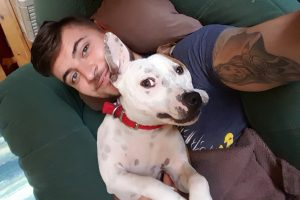 Staffie Diesel and his owner Jordan