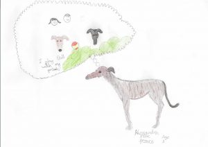 Sally the Greyhound's children's drawing