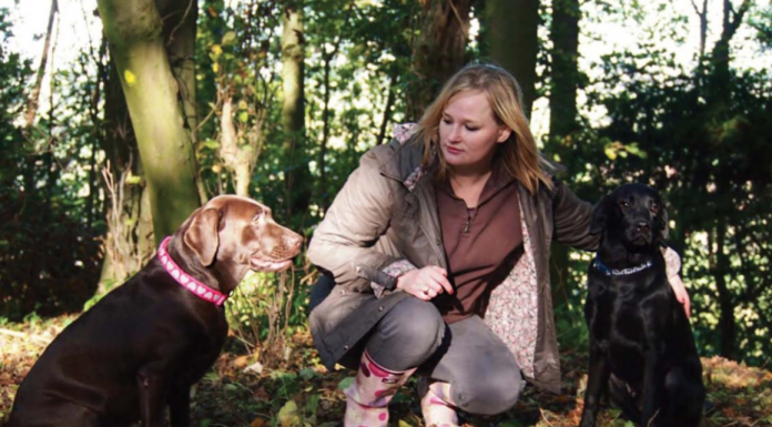 Victoria Spry with her labradors
